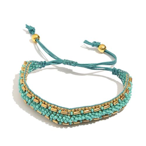 Set of 2 - Multi Colour Seed Beaded Red and Turquoise Colour Bracelet