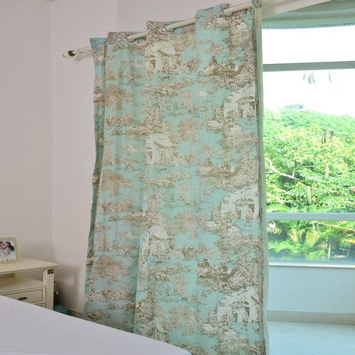 Toile de Jouy Village Life Print Eyelet Curtain and Tieback in Turquoise and Beige Tones with Solid Colour Lining (Size 167x230 cm)