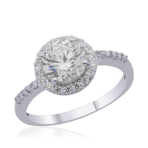 J Francis - Platinum Overlay Sterling Silver (Rnd) Ring Made with SWAROVSKI ZIRCONIA 2.310 Ct.