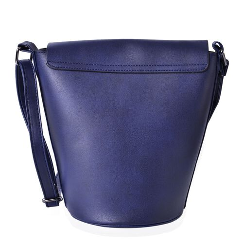 Blue Colour Crossbody Bag with Adjustable Shoulder Strap (Size 24.5x24x16x16 cm)