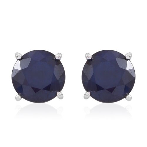 Rare Size Kanchanaburi Blue Sapphire (Rnd 8 mm 2.50 Ct) Stud Earrings in Rhodium Plated Sterling Silver 5.000 Ct.