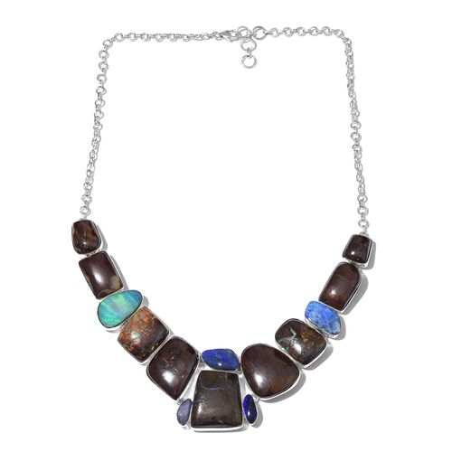 Boulder Opal Rock and Opal Double Necklace (Size 18 with 1 inch Extender) in Sterling Silver 228.250 Ct.