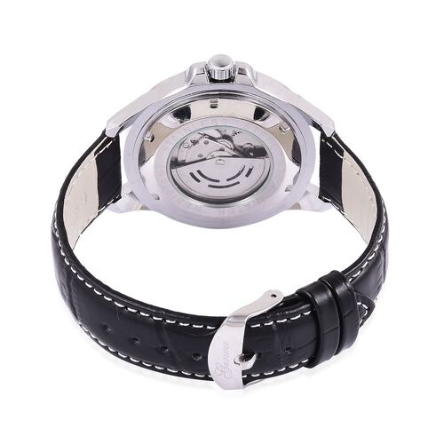 GENOA Automatic Skeleton White Dial Water Resistant Watch in Silver Tone with Stainless Steel Back and Black Strap with Gift Box