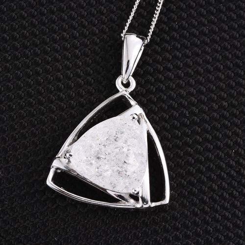 Diamond Crackled Quartz (Trl) Solitaire Pendant With Chain in Platinum Overlay Sterling Silver 5.500 Ct.