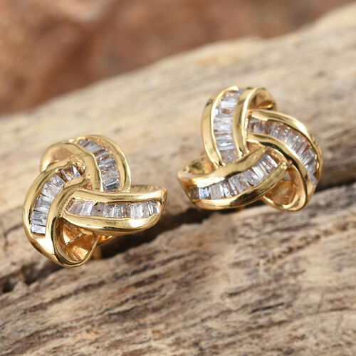 0.25 Carat Diamond Triple Knot Stud Earrings in Gold Plated Silver (with Push Back)