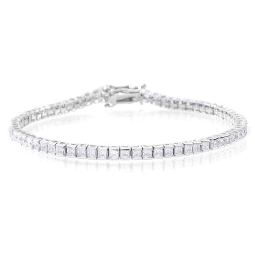 ELANZA AAA Princess Cut Simulated White Diamond (Sqr) Tennis Bracelet (Size 8) in Rhodium Plated Sterling Silver. 9 grams of Silver