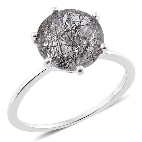 BRIOLETTE CUT Black Rutile Quartz (Rnd) Solitaire Ring in Sterling Silver 3.250 Ct.
