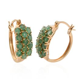 Kagem Zambian Emerald (Ovl) Hoop Earrings (with Clasp) in 14K Gold Overlay Sterling Silver 4.000 Ct.