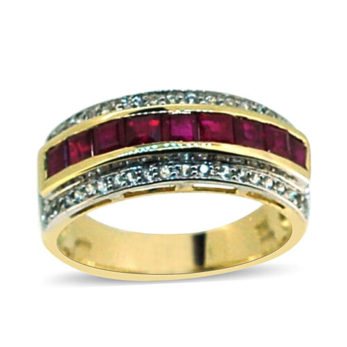 9K Yellow Gold AAA Burmese Ruby (Sqr), White Sapphire Ring 1.500 Ct.