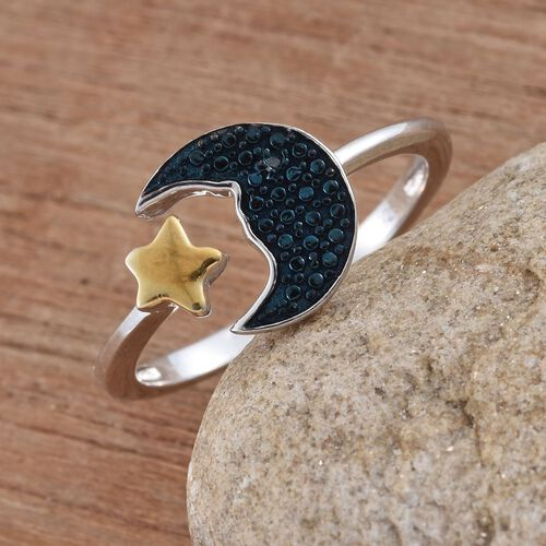 Blue Diamond (Rnd) Half Moon and Star Ring in Platinum and Yellow Gold Overlay Sterling Silver