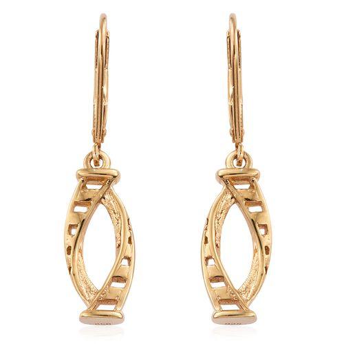 14K Gold Overlay Sterling Silver Lever Back Earrings, Silver wt. 3.36 Gms.