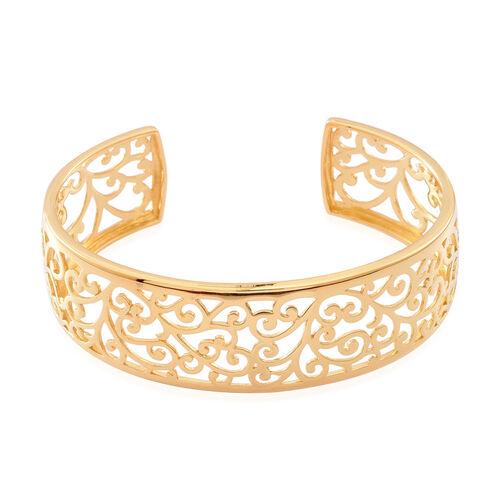 Designer Inspired 14K Gold Overlay Sterling Silver Bangle (Size 7.5) Silver wt. 20.50 Gms.