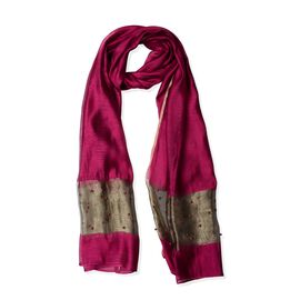 60% Silk Fuchsia and Golden Colour Beads Studded Scarf (Size 190x70 Cm)