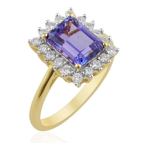 ILIANA AAA Tanzanite (2.40 Ct) and Diamond 18K Y Gold Ring  2.855 Ct.