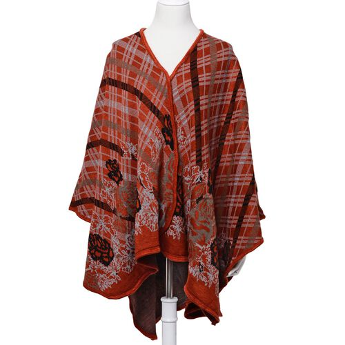 Designer Inspired Floral and Checks Pattern Red and Multi Colour Poncho (Size 120x90 Cm)