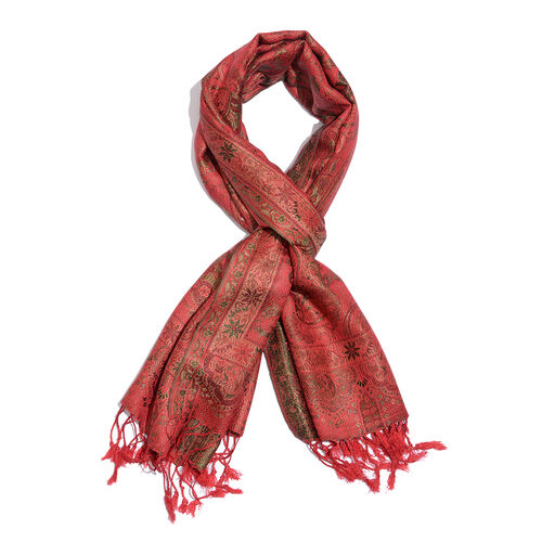 SILK MARK- 100% Superfine Silk Red, Green and Multi Colour Jacquard Jamawar Scarf with Fringes (Size 180x70 Cm)