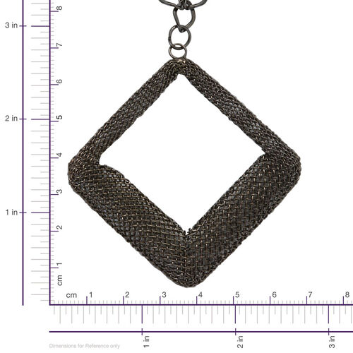 Square Necklace (Size 20) and Hook Earrings in Black Tone