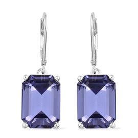 J Francis Crystal from Swarovski - Tanzanite Colour Crystal (Oct) Lever Back Earrings in Sterling Silver