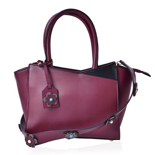 Burgundy and Black Colour Tote Bag with Multi Colour Floral Charm and Removable Floral Strap (Size 35x27.5x20x11 Cm)