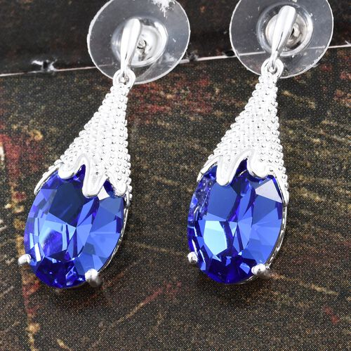 J Francis Crystal from Swarovski - Sapphire Colour Crystal (Ovl) Earrings (with Push Back) in Sterling Silver, Silver wt 3.38 Gms.