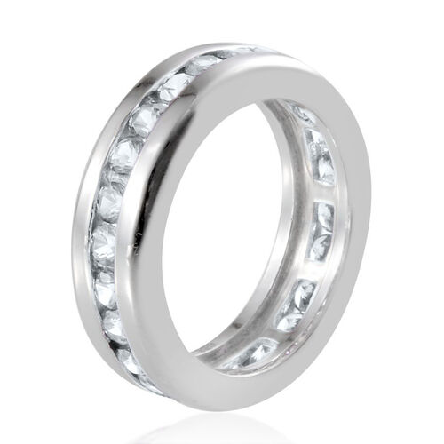 J Francis - Platinum Overlay Sterling Silver (Rnd) Full Eternity Band Ring Made with SWAROVSKI ZIRCONIA 1.500 Ct.