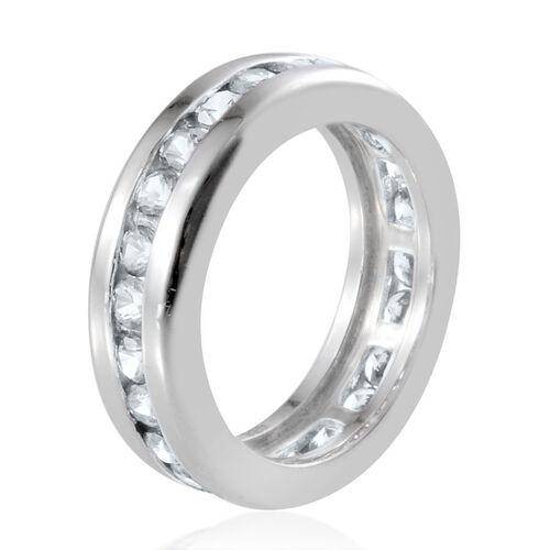 J Francis - Platinum Overlay Sterling Silver (Rnd) Full Eternity Band Ring Made with SWAROVSKI ZIRCONIA