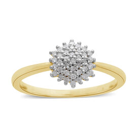 9K Yellow Gold 0.20 Ct Diamond Cluster Ring SGL Certified (I3/G-H)