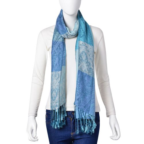 Silver, Light Blue and Dark Blue Colour Checks and Paisley Pattern Scarf with Tassels (Size 180X65 Cm)