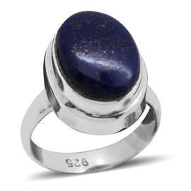 Royal Bali Collection Lapis Lazuli (Ovl) Solitaire Ring in Sterling Silver 6.580 Ct.