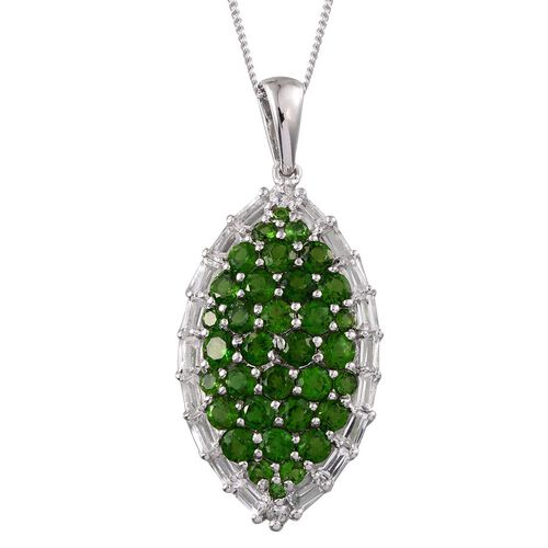 Russian Diopside (Rnd), White Topaz Cluster Pendant With Chain in Platinum Overlay Sterling Silver 4.250 Ct.