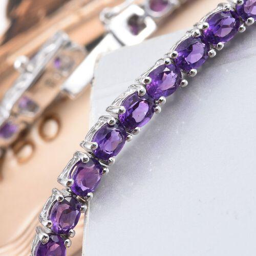 Amethyst (Ovl) Bracelet (Size 6.5) in Platinum Overlay Sterling Silver 5.500 Ct.
