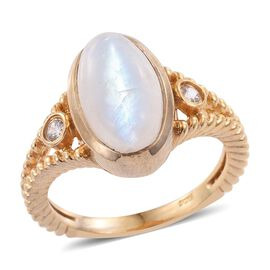 Rainbow Moonstone (Ovl 4.90 Ct), Natural Cambodian Zircon Ring in 14K Gold Overlay Sterling Silver 5.000 Ct.