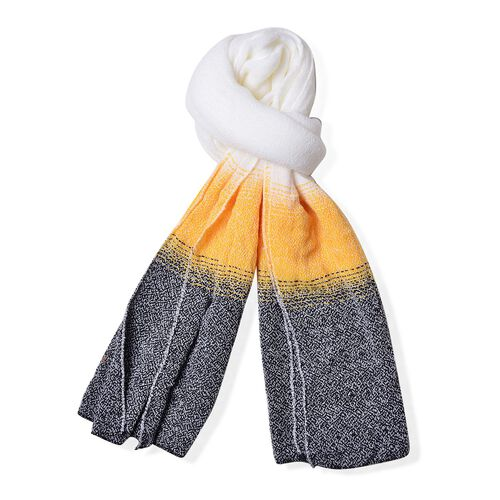 White, Grey and Yellow Colour Scarf (Size 190x65 Cm)