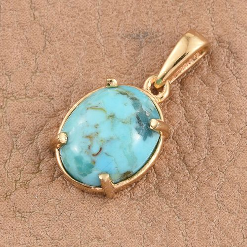 Arizona Matrix Turquoise (Ovl) Solitaire Pendant in 14K Gold Overlay Sterling Silver 2.000 Ct.