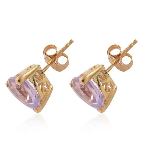 Rose De France Amethyst (Trl) Stud Earrings (with Push Back) in 14K Gold Overlay Sterling Silver 4.500 Ct.