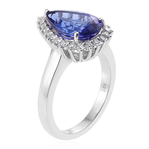 ILIANA 18K White Gold 4 Carat AAA Pear Tanzanite Halo Ring with Diamond SI G-H
