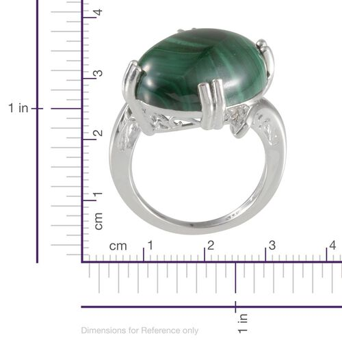 Malachite (Ovl) Solitaire Ring in Sterling Silver 18.000 Ct.