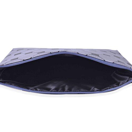Set of 3 - Grey and Black Colour Large (Size 24x18x4 Cm), Middle (Size 22x16x4 Cm) and Small (Size 19x13x3 Cm) Cosmetic Bag