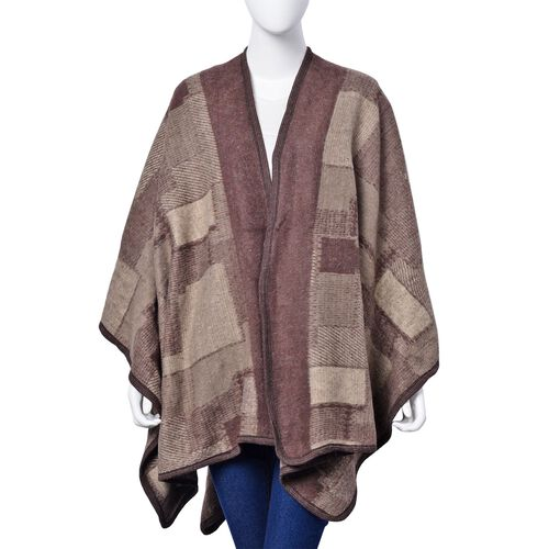 Chocolate and Coffee Colour Geomatric Pattern Poncho (Size 123x76 Cm)