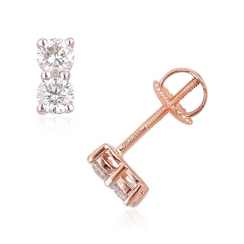 ILIANA 18K Rose Gold IGI Certified Diamond(Rnd) (SI G-H) Stud Earrings (with Screw Back) 0.500 Ct.
