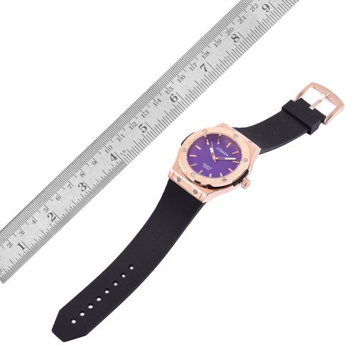 BASELWORLD Inspired - STRADA Japanese Movement Purple Dial Watch in Rose Gold Tone bezel with  Black Silicone Strap