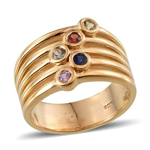 Green Sapphire (Rnd), Yellow, Kanchanaburi Blue, Red and Pink Sapphire Ring in 14K Gold Overlay Sterling Silver