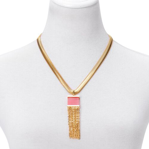 Strawberry Quartz Tassel Necklace (Size 20 with 2 inch Extender) in ION Plated Yellow Gold Stainless Steel 7.000 Ct.