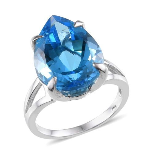 Electric Swiss Blue Topaz (Pear) Ring in Platinum Overlay Sterling Silver 18.000 Ct. Silver wt 6.07 Gms.