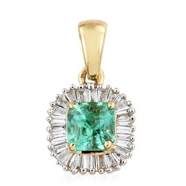 ILIANA 0.90 Ct AAAA Boyaca Colombian Emerald and Diamond Halo Pendant in 18K Gold, with SI G-H Diamonds