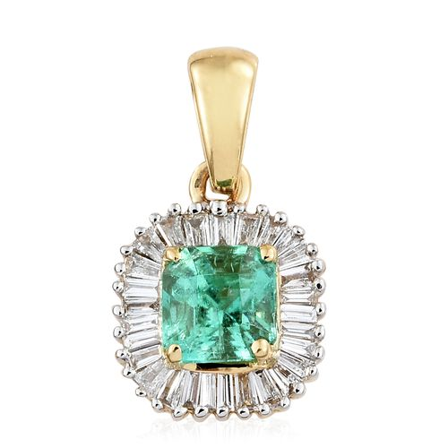 ILIANA 0.90 Ct AAAA Boyaca Colombian Emerald and Diamond Halo Pendant in 18K Gold, with SI G-H Diamonds