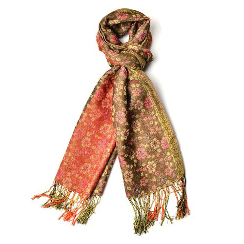 Yellow and Black Colour Small Plum Blossom Pattern Green and Orange Red Colour Scarf with Fringes (Size 170x70 Cm)
