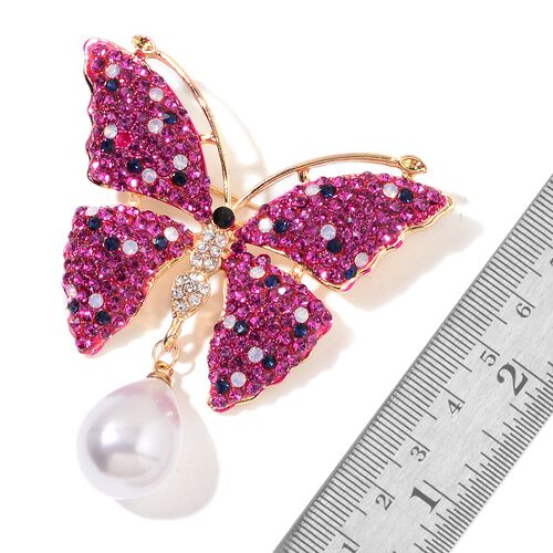 Simulated White Pearl and Multi Colour Austrian Crystal Butterfly Brooch in Yellow Gold Tone