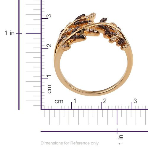 Diamond (Rnd), Natural Champagne Diamond Ring in 14K Gold Overlay Sterling Silver 0.250 Ct.