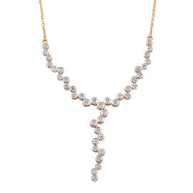 Diamond (Rnd) Necklace (Size 18) in 14K Gold Overlay Sterling Silver 0.250 Ct.